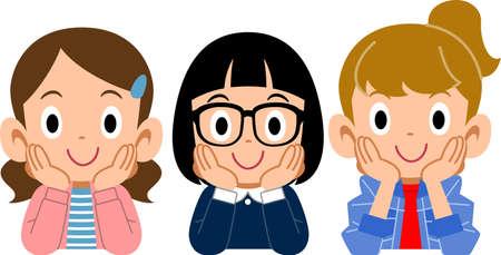 Three girls who rest their cheek on their hand Ilustração