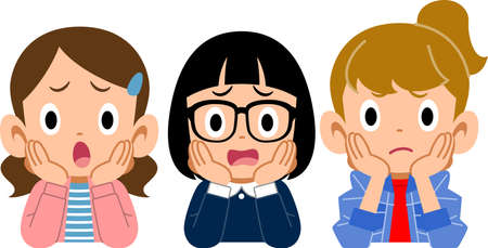 Three girls who rest their cheek on their hand with a dissatisfaction face Ilustração