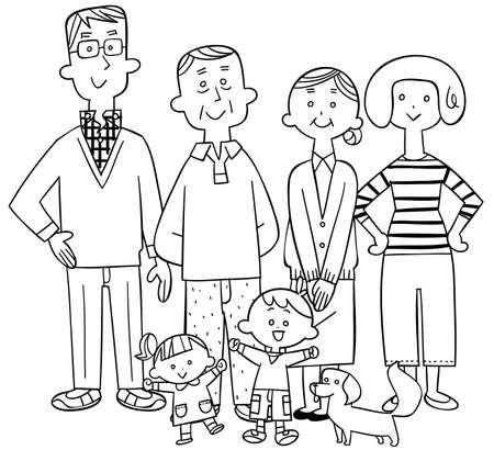 Line art of a happy three-generation family centered on seniors