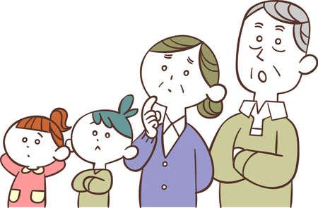 Grandparents and grandchildren thinking Ilustração