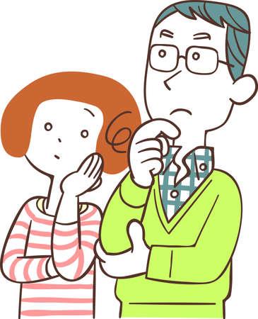 The upper body of a thinking couple Ilustração