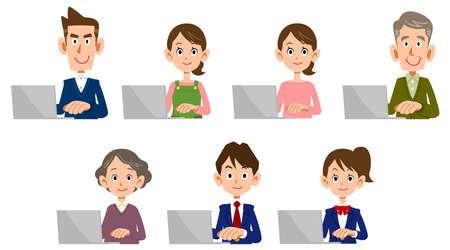 Men and women of all ages operating laptops Ilustração