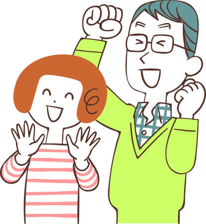 The upper body of a young couple who rejoices facing left