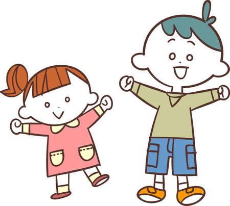 Bright and energetic boys and girls Ilustração