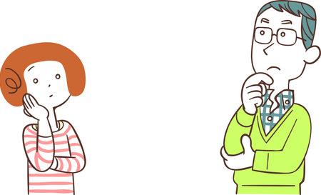 A couple thinking face to face Ilustração