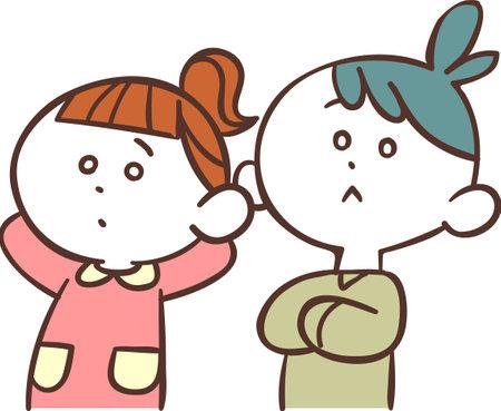 Male and female children thinking Ilustração