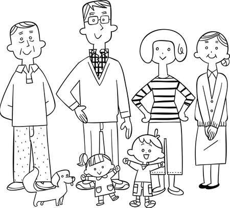Line art of a happy three-generation family Ilustração