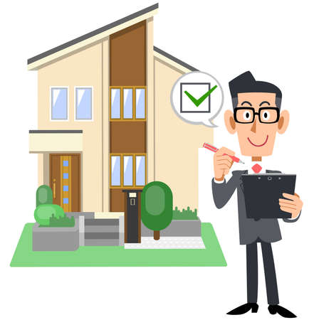A man in a suit and a house with a check mark on the paperwork Vektorové ilustrace