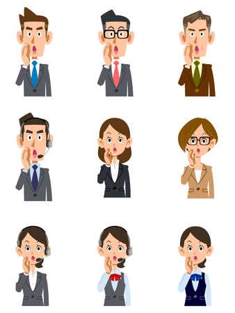 Whispering office worker men's and women's upper body set