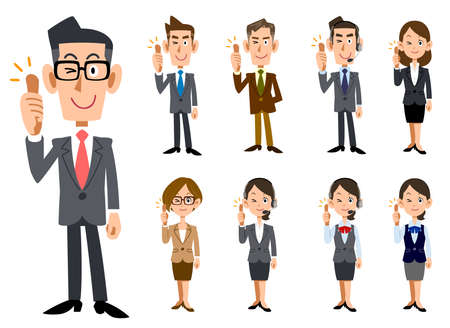 Full-body set of male and female office workers to thumbs up