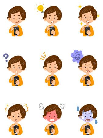 Illustration set of facial expressions of women operating smartphones Vetores