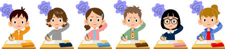 Elementary school boys and girls worried during class