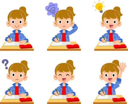6 different facial expressions and gestures for girls taking classes