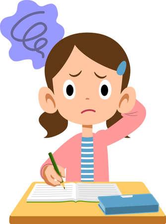 Elementary school girl worried during class Ilustración de vector