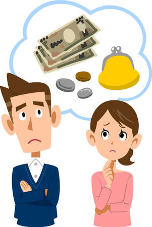 A young couple worried about money