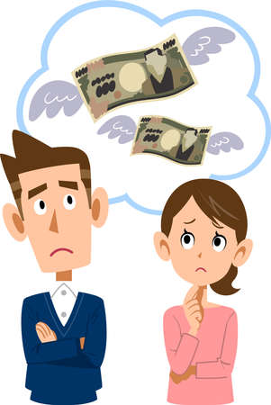 Young couple worried about spending