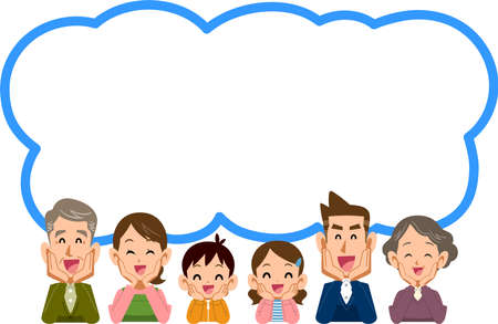 A speech bubble with a three-generation family who smiles and puts on a cheek stick