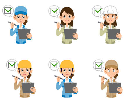 A set of women in work clothes to fill out a check sheet