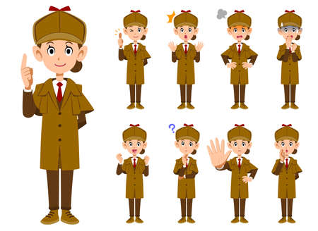 A set of 9 different facial expressions and gestures for a female detective