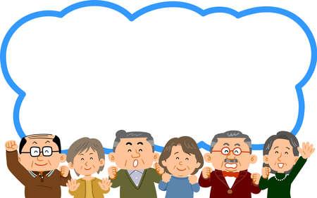 Speech balloons and a healthy senior's upper body Ilustração