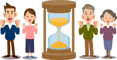 An hourglass and two happy couples Ilustração