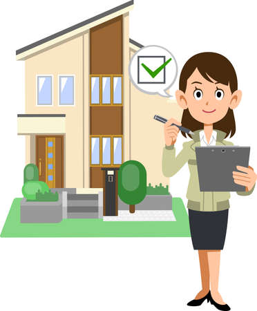 A woman and a house in a construction shop who fill out a check mark on a document