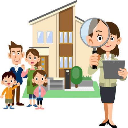 A family, a woman in a construction shop holding a magnifying glass and documents, and a house