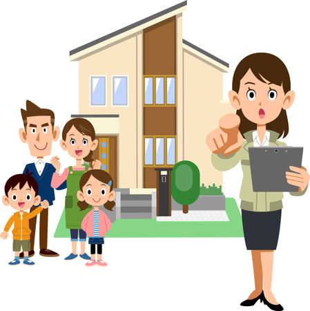 A family, a woman in a construction shop pointing a finger, and a house