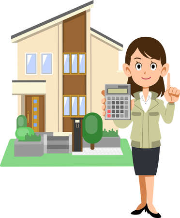 A woman in a construction shop showing a calculator and a house