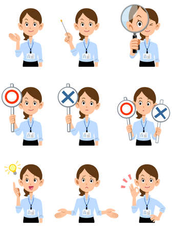 9 types of gestures and facial expressions of the upper body of a woman working in a summer office with an employee ID card Ilustração