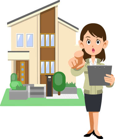 A woman in a construction shop pointing her finger and a house Ilustração