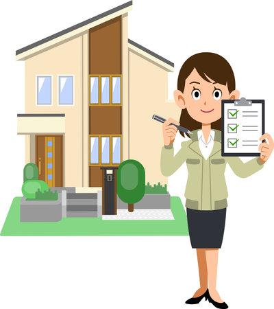 A woman in a construction shop holding a checklist, and a house Ilustração