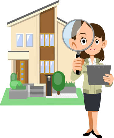 A house with a woman in a construction shop holding a magnifying glass and documents