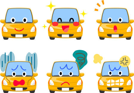 6 types of facial expressions for car characters