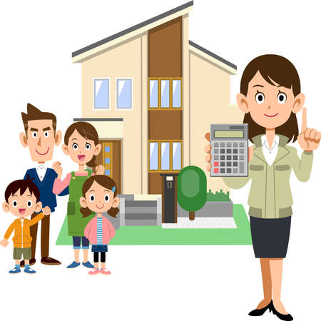 A family, a woman in a construction shop showing a calculator, and a house