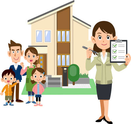 A family, a woman in a construction shop holding a checklist, and a house