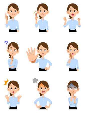 9 types of gestures and facial expressions for the upper body of a woman working in a summer office