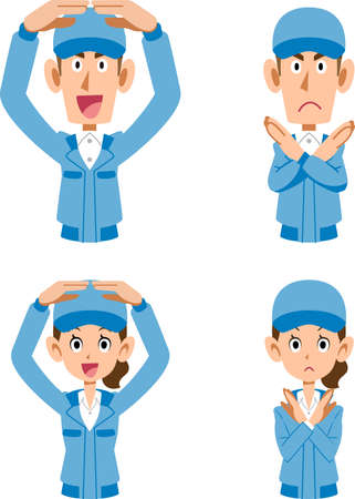 Men and women in blue work clothes that make circles and crosses with both hands