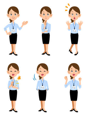 A woman working in a summer office with an employee ID card, 6 types of gestures and facial expressions