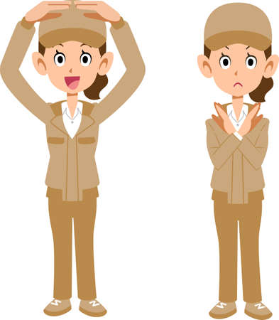 The whole body of a woman in beige work clothes that makes rounds and crosses with both hands