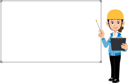 A woman wearing blue work clothes and a helmet to explain with materials and a pointer, and a simple whiteboard