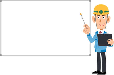 A man wearing blue work clothes and a helmet to explain with a document and a pointer, and a simple whiteboard