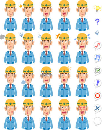 20 different facial expressions and upper body of men wearing blue work clothes and helmets