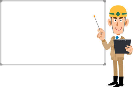 A man wearing beige work clothes and a helmet to explain with materials and a pointer, and a simple whiteboard Ilustração