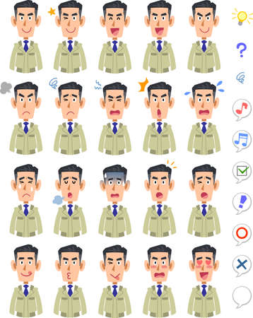 20 different facial expressions and upper body of men in work clothes