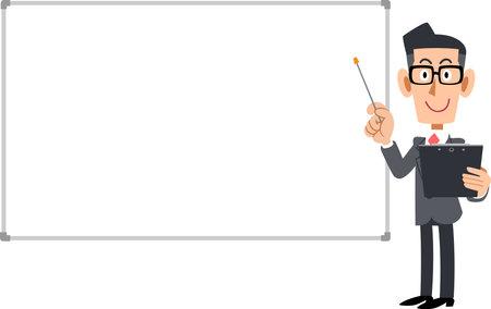 A businessman to explain and a simple whiteboard Ilustração