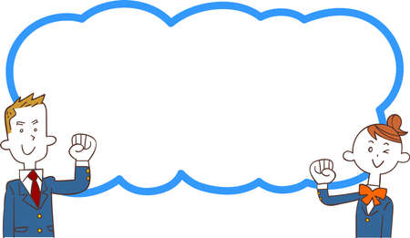 A cloud-shaped copy space with man and woman in school clothes Ilustração