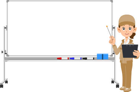 A woman in work clothes explaining with materials and a pointer, and a whiteboard
