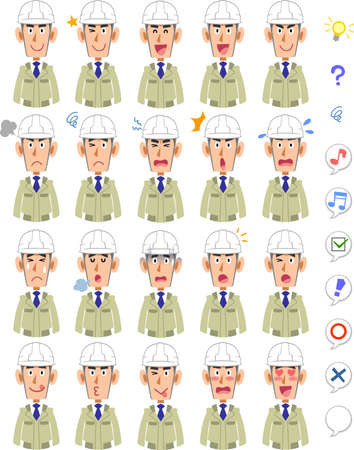 20 different facial expressions and upper body of a man wearing a helmet and work clothes