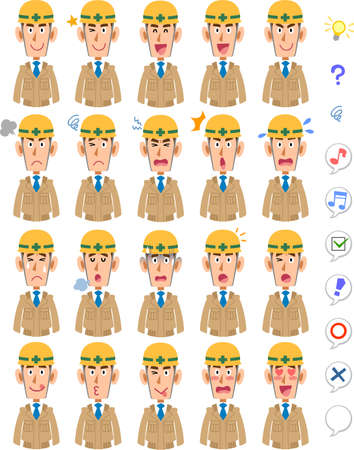 20 different facial expressions and upper body of a man wearing beige work clothes and a helmet